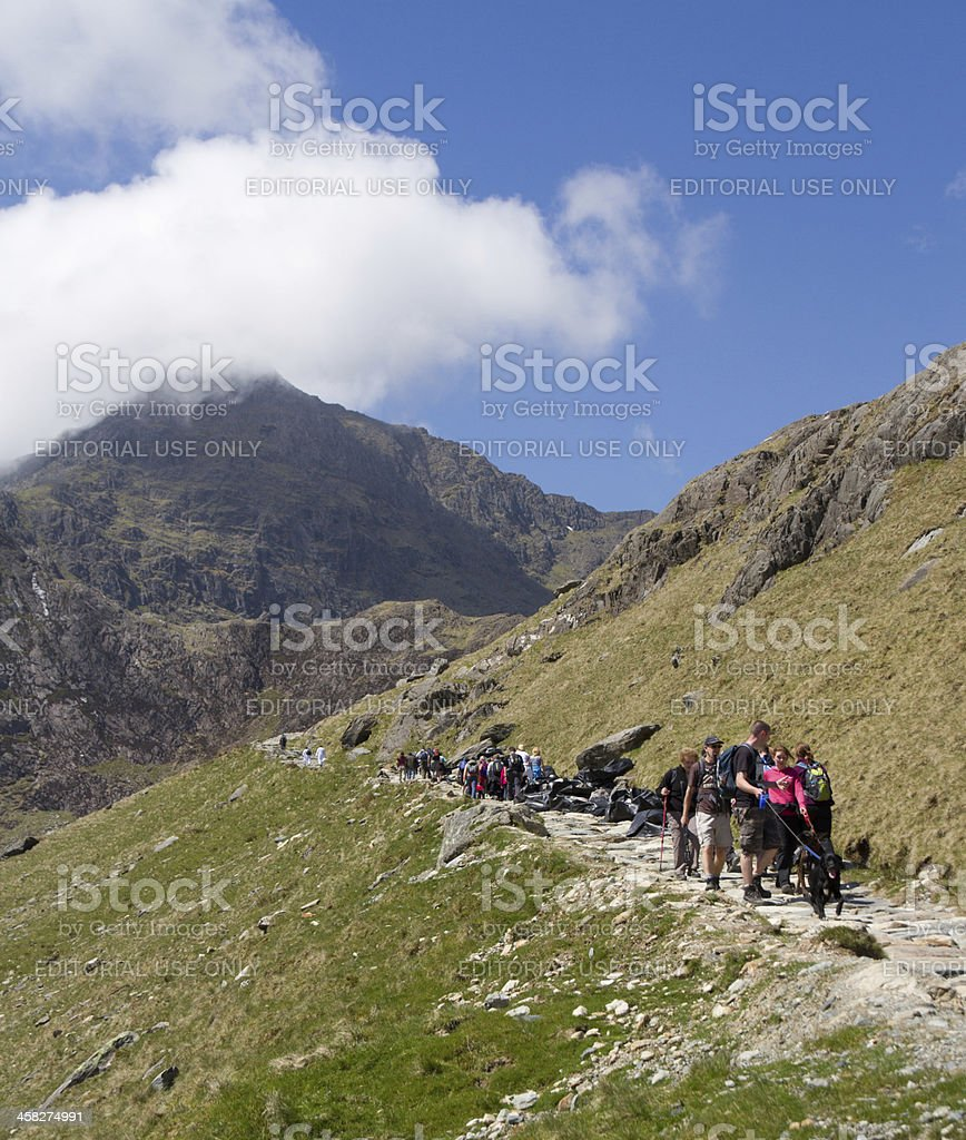 Everyman and his dog on Mount Snowdon royalty-free stock photo