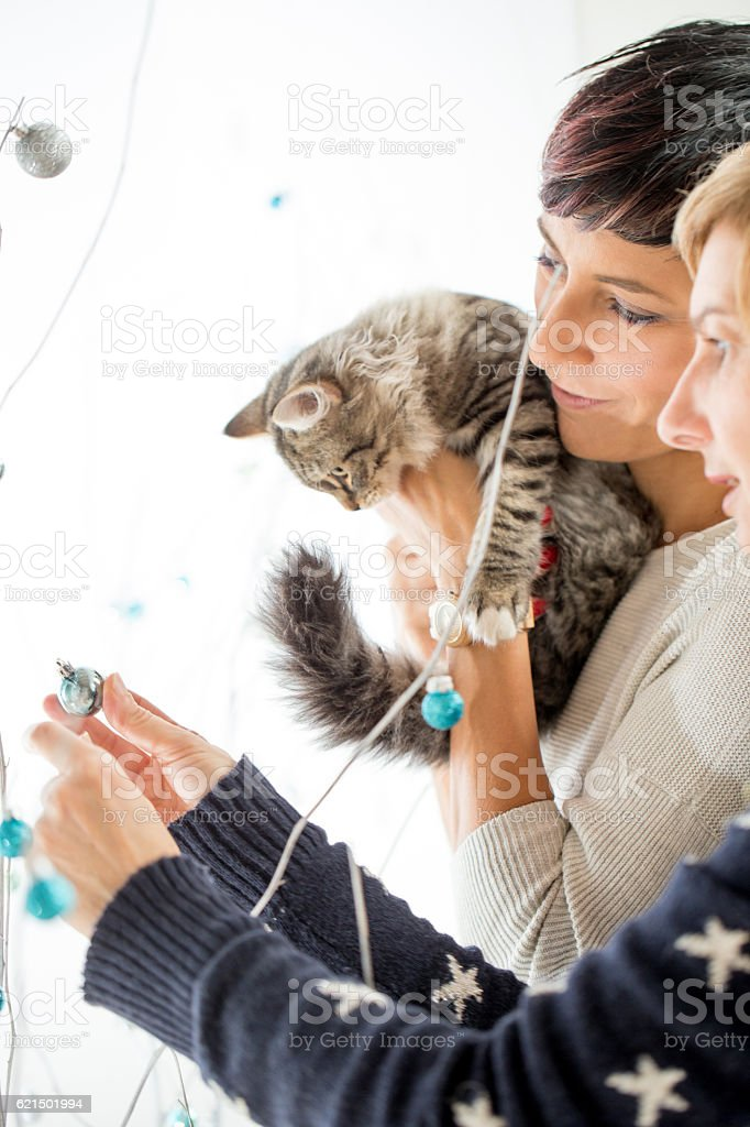Everyone Decorating the Christmas Tree foto stock royalty-free