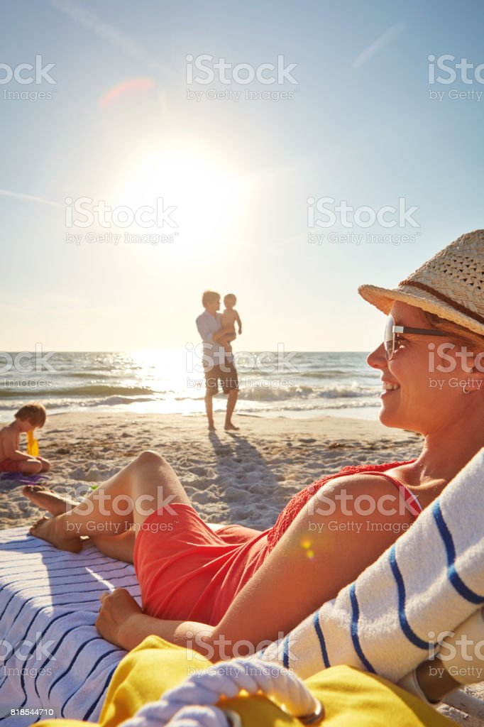 Everyone get what they need at the beach stock photo