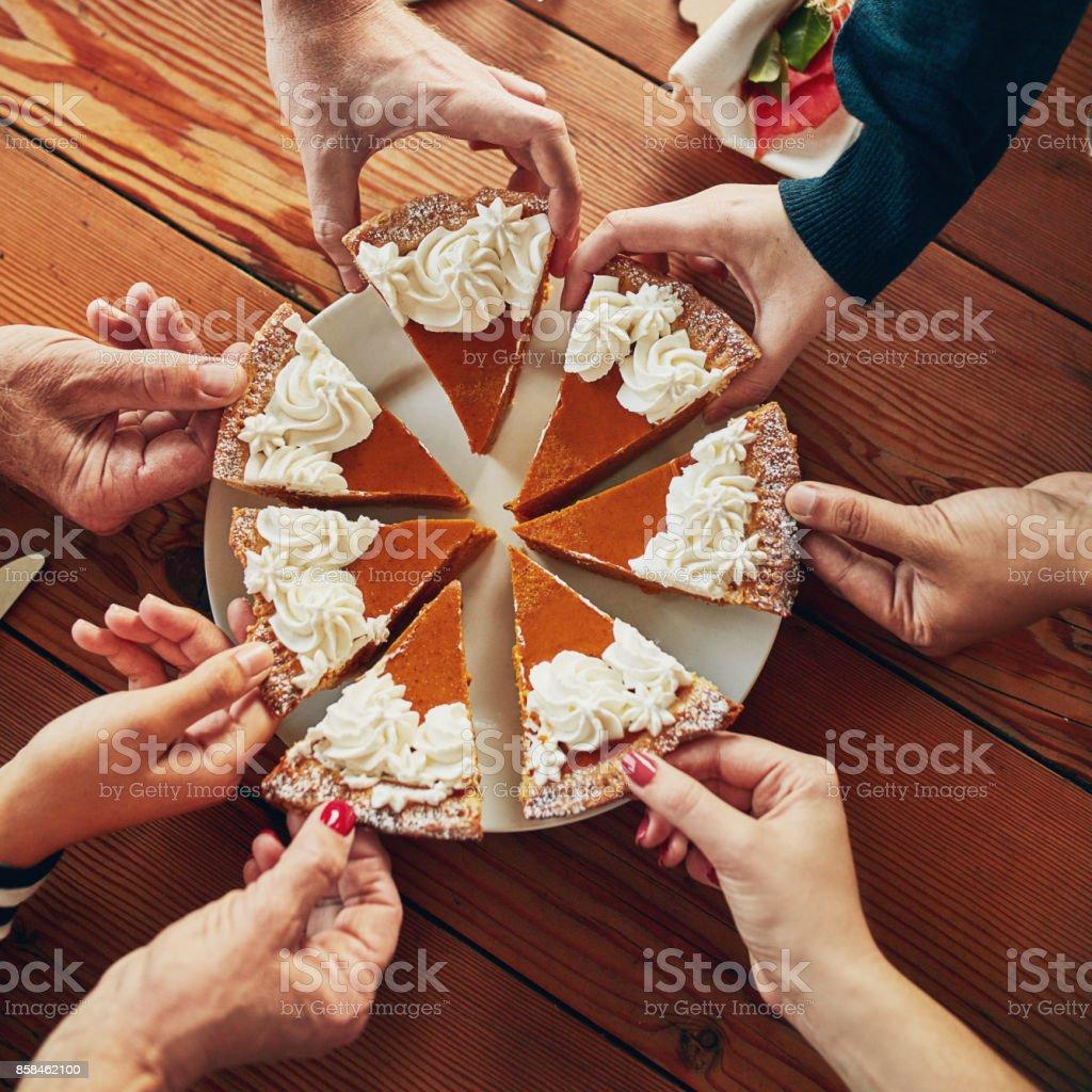 Everyone has a soft spot for pumpkin pie stock photo