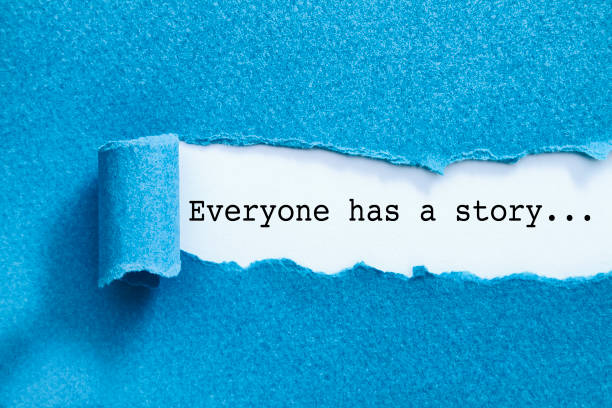 Everyone has a story. Everyone has a story written under torn paper. single word stock pictures, royalty-free photos & images
