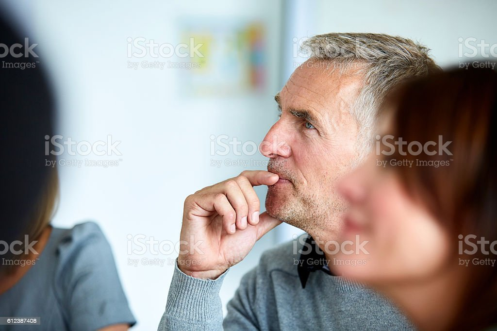 Everyone is interested in this presentation stock photo