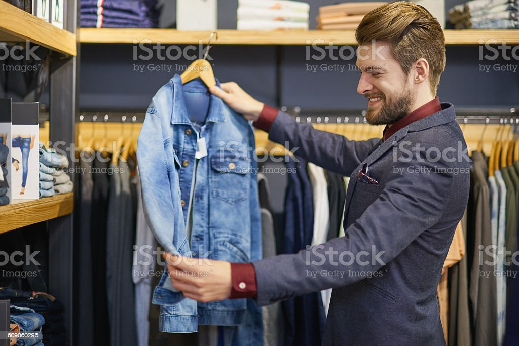 Everyone needs a classic denim jacket in their closet stock photo