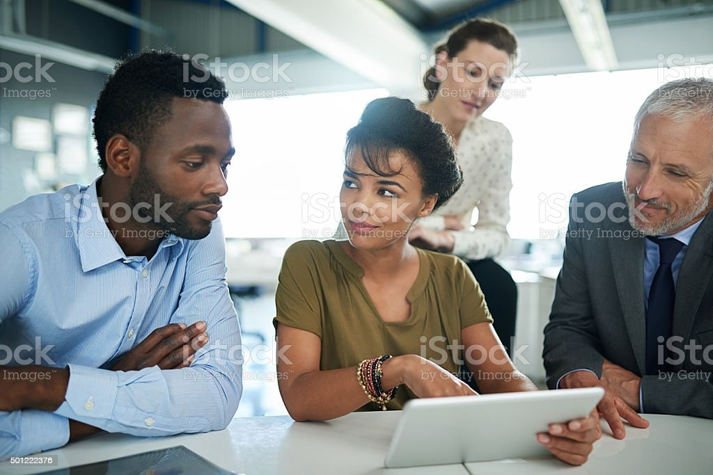 Everyone's in on this project stock photo