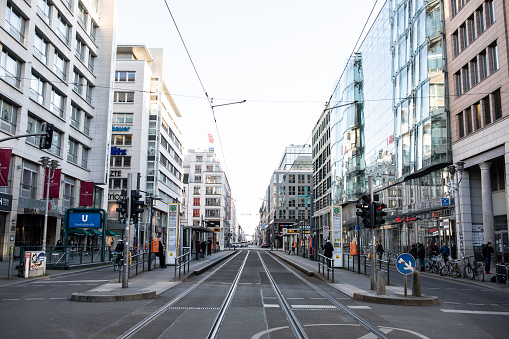 View of one of Berlin's most famous streets and S-Bahn stations Friedrichstrasse completely empty due to new German regulations aiming to limit the spread of the new COVID-19 coronavirus.