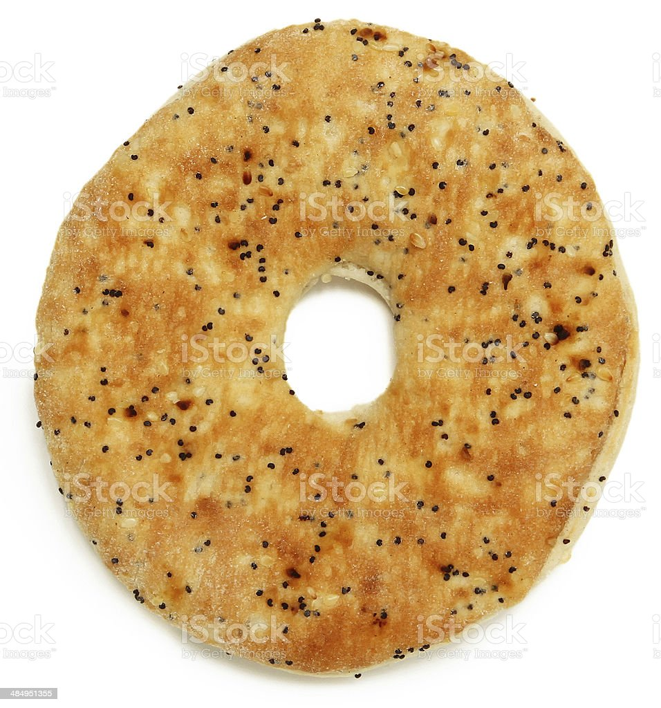 Everything Flat Bagel Over White stock photo