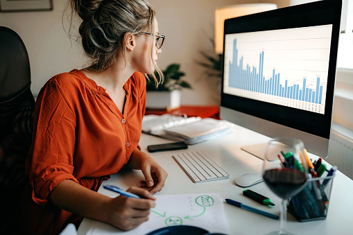 Business women working with stock market will late, working from home