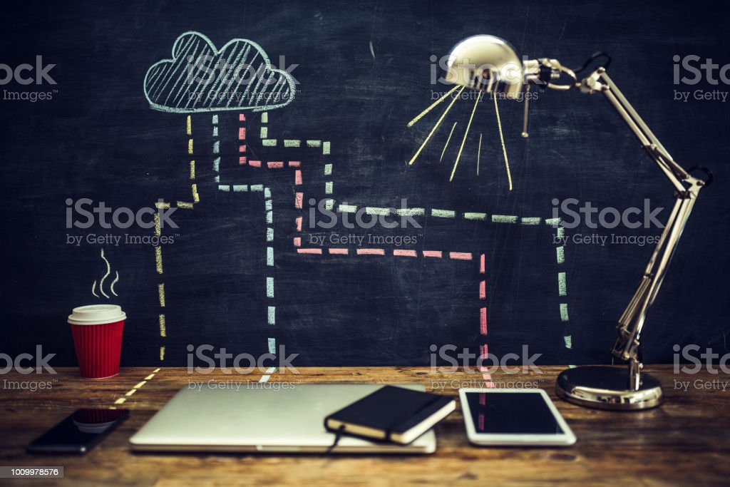 Everything is connected to the cloud stock photo
