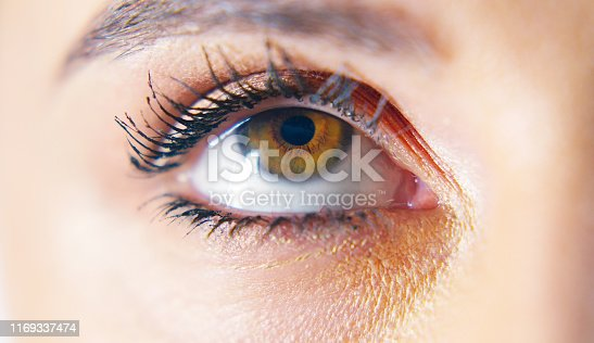 Cropped shot of a young woman's eyes looking up