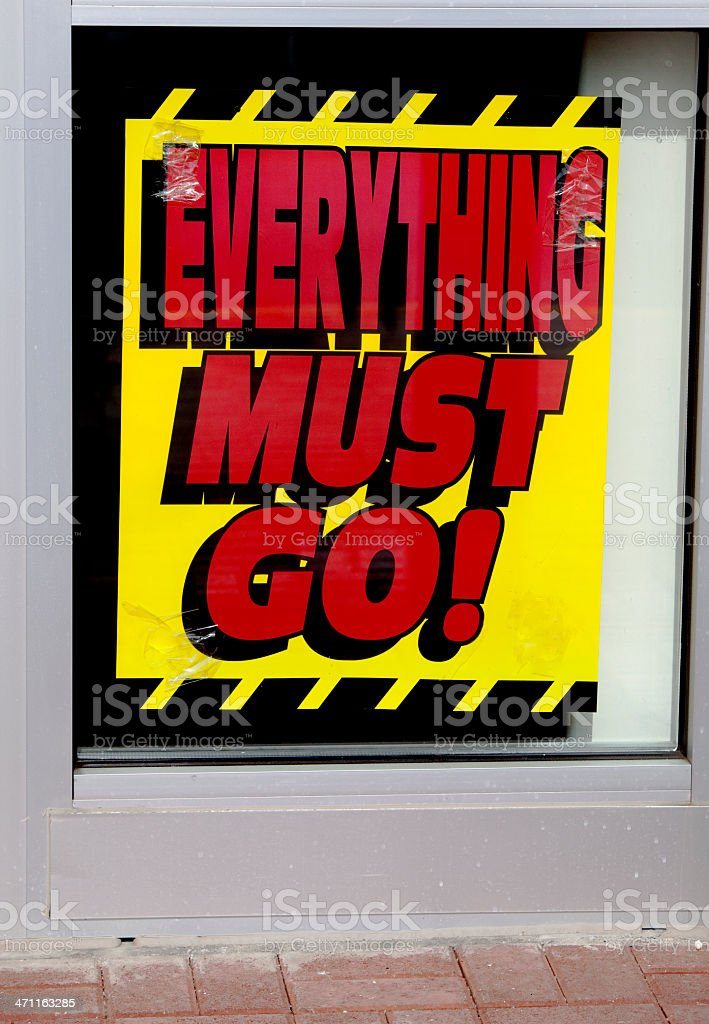 Everything Must Go Sign stock photo