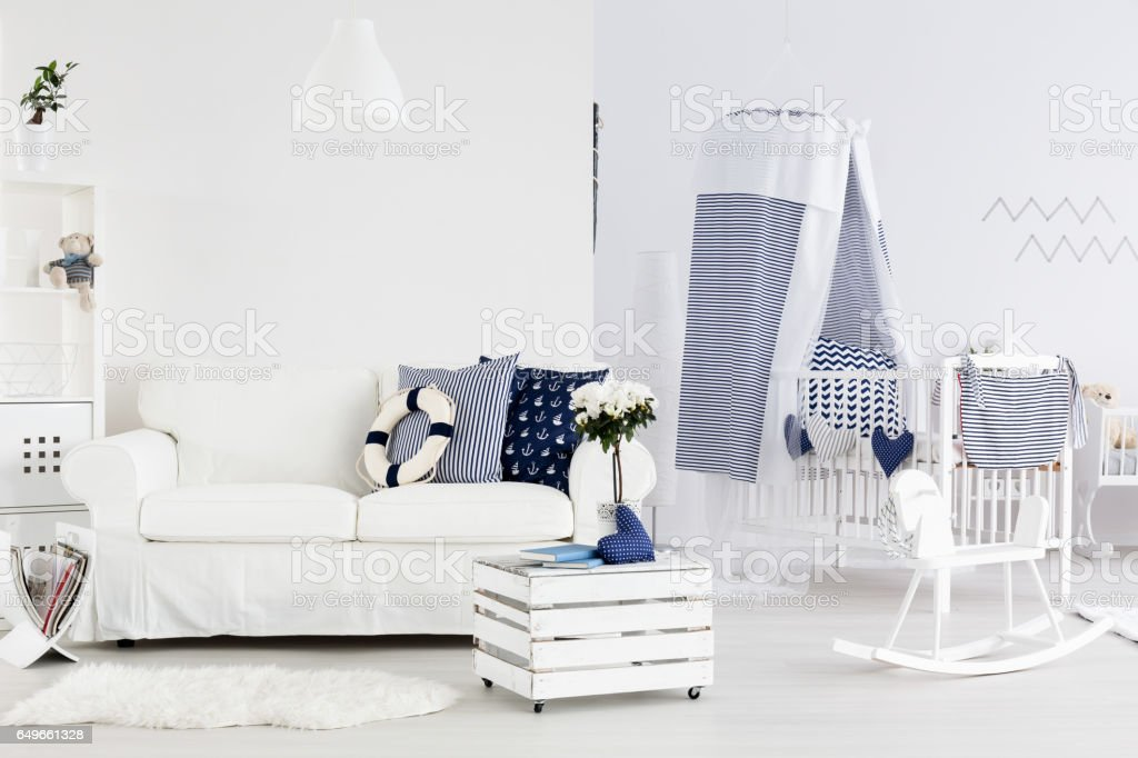 Everything ready for a little sailor to arrive stock photo