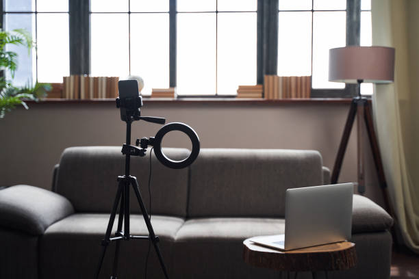 Everything ready for recording new videos at home stock photo