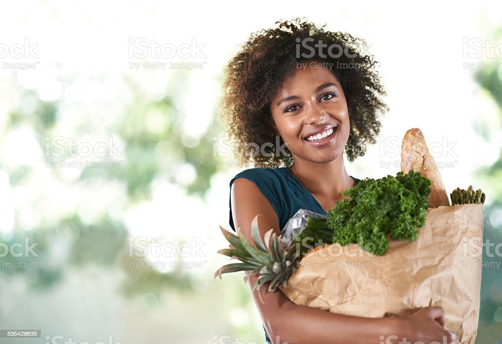 Everything she needs for her new diet stock photo