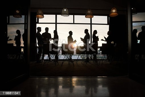 Full length silhouetted shot of a group of businesspeople working and conversing together inside a modern office