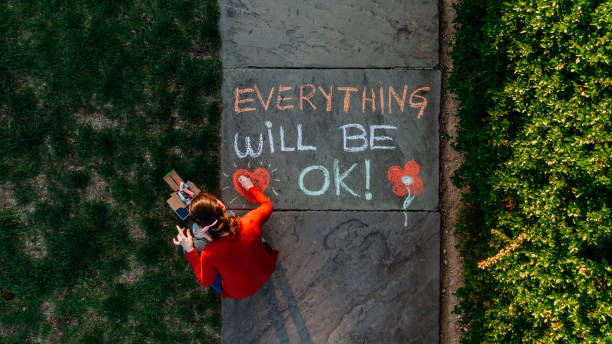 Everything Will Be Ok Message on the sidewalk during COVID-19 stock photo