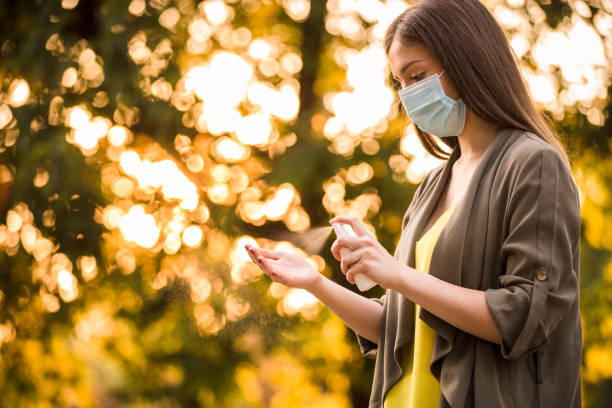Everywhere is a good place to take preventive measures against coronavirus stock photo