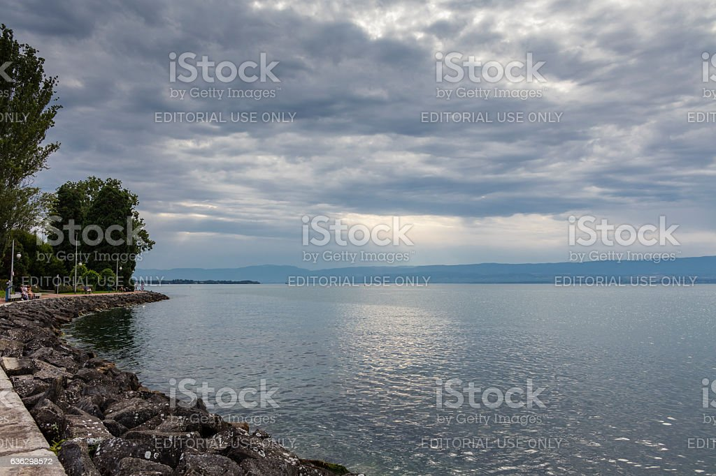 Evian-les-Bains, France. Lake Geneva in the evening stock photo