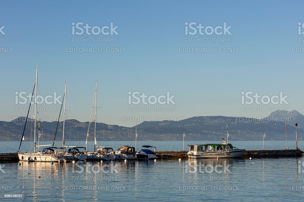 Evian-les-Bains, France. Pleasure boats in the marina - foto stock