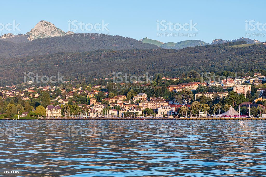 Evian-les-Bains from the Lake Geneva - foto stock