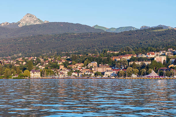 Evian-les-Bains from the Lake Geneva - foto stock