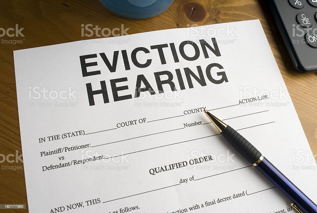 Eviction Hearing Legal Paperwork royalty-free stock photo