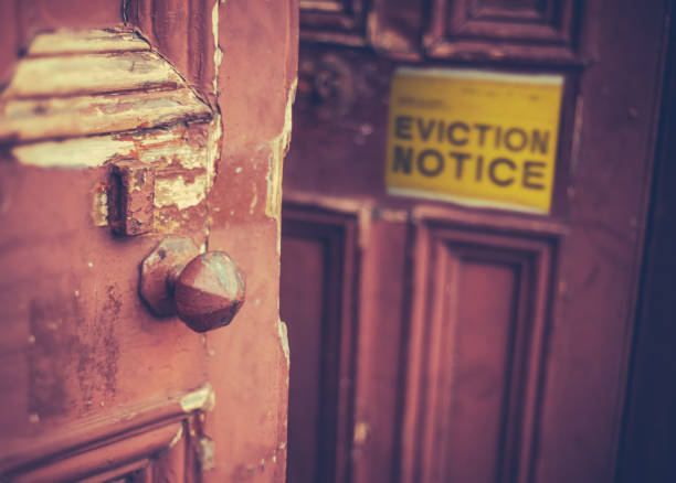 eviction notice on door - tenant stock photos and pictures