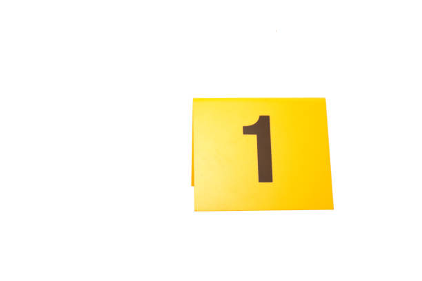 evidence marker number 1 for crime scene investigation concept isolated on white background stock photo