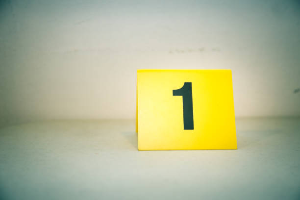 evidence marker number 1 isolated crime scene investigation concept with copy space stock photo