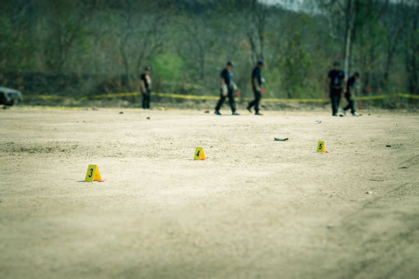 evidence marker with blurred forensic background in cenematic tone stock photo