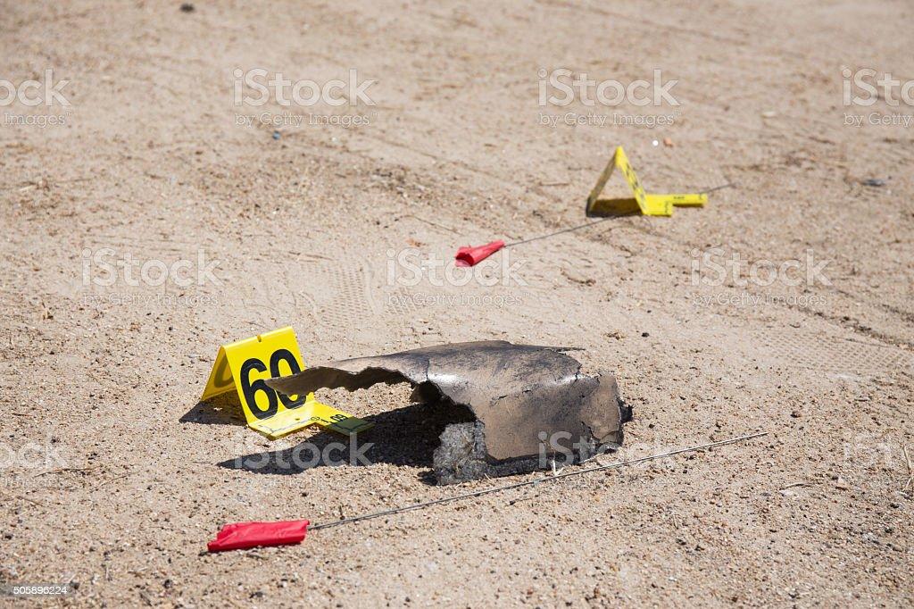 evidence number tag in car  explosion  crime scene stock photo