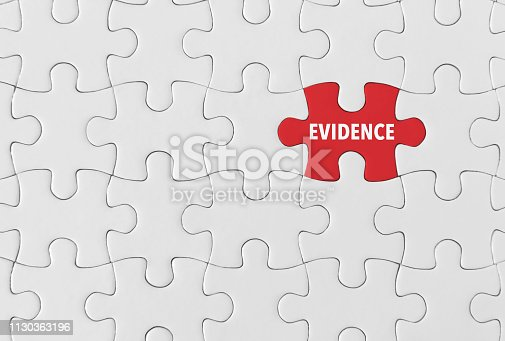 Puzzle pieces with word 'Evidence'