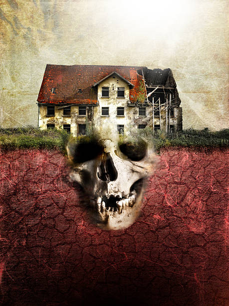 evil abandoned house and skull - demon fictional character stock photos and pictures