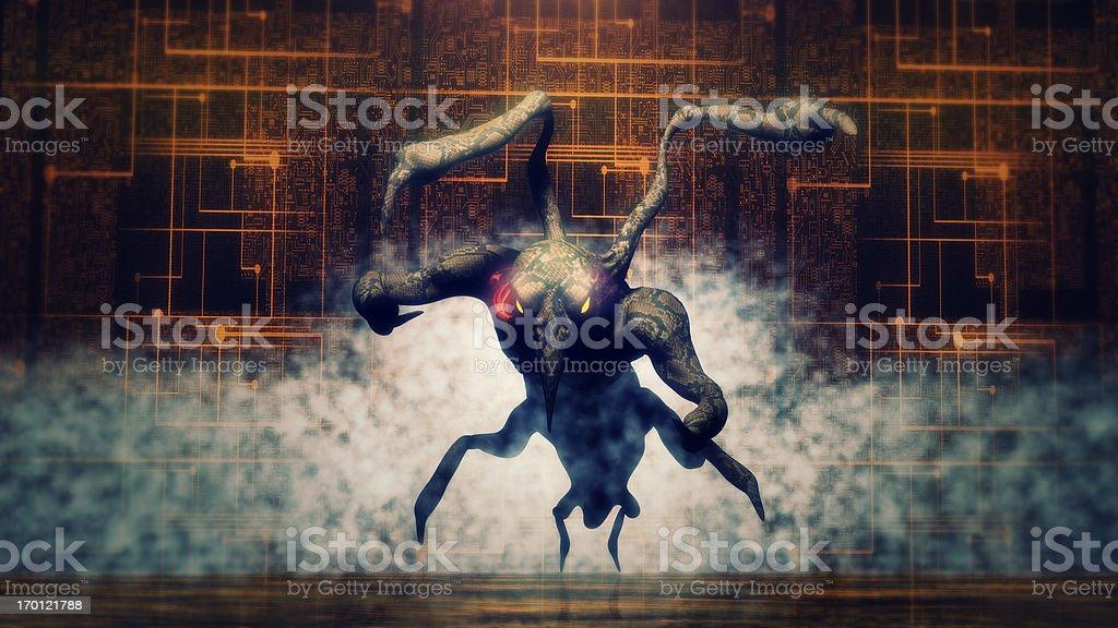 Evil alien monster in attack stock photo