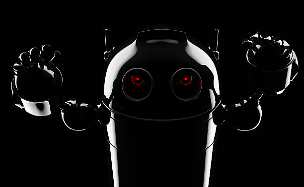Evil angry robot stock photo