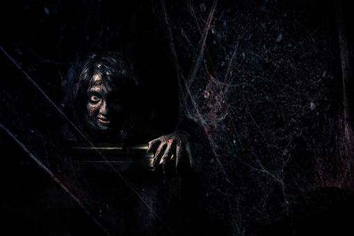 istock Evil behind the spider web in dark 923828194