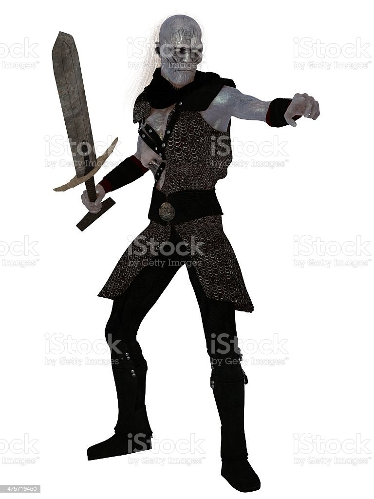 Evil blue skinned orc warrior brandishing sword stock photo