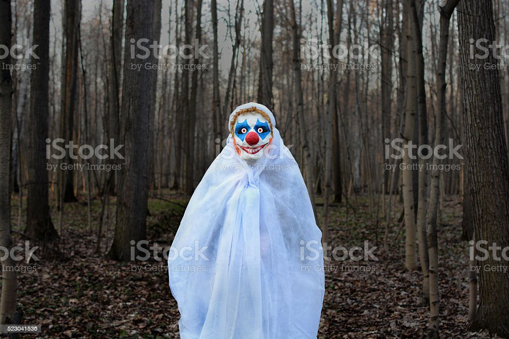evil clown in a dark forest in a white veil evil clown in a mask standing in a dark forest in a white veil Adult Stock Photo