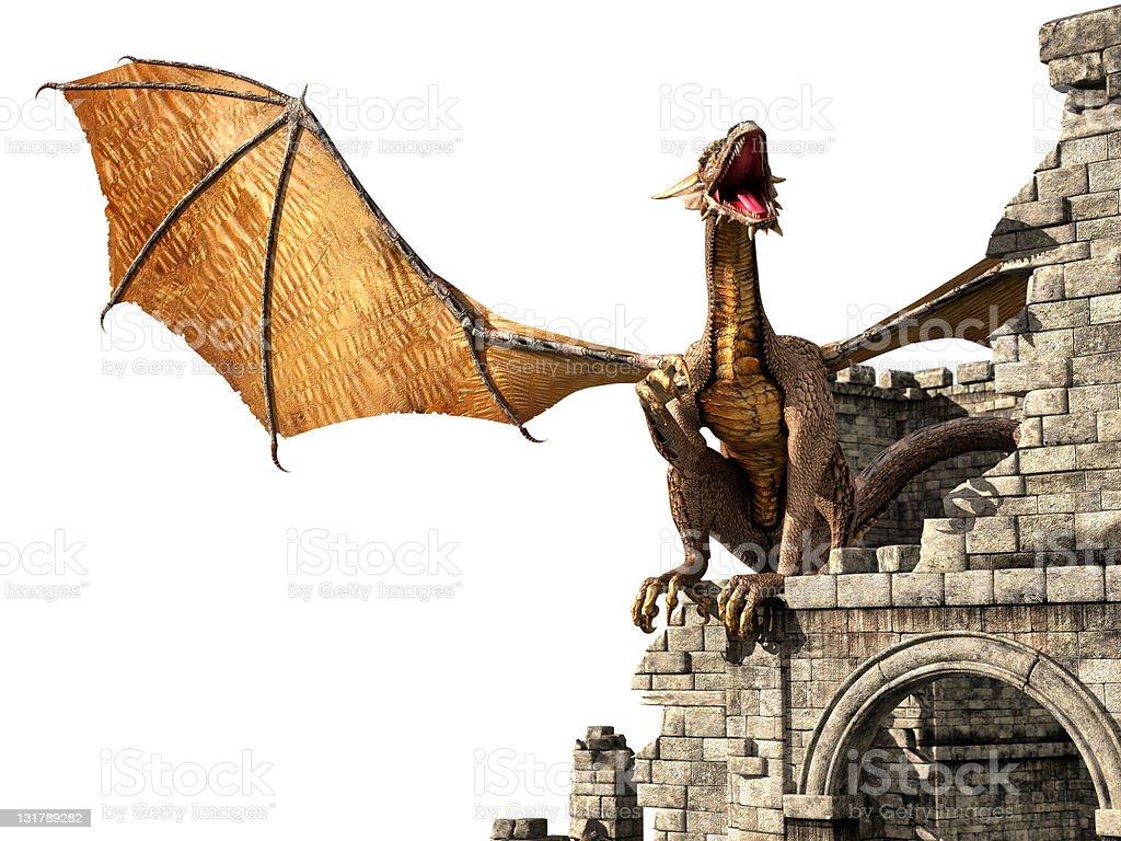Evil dragon on castle stock photo