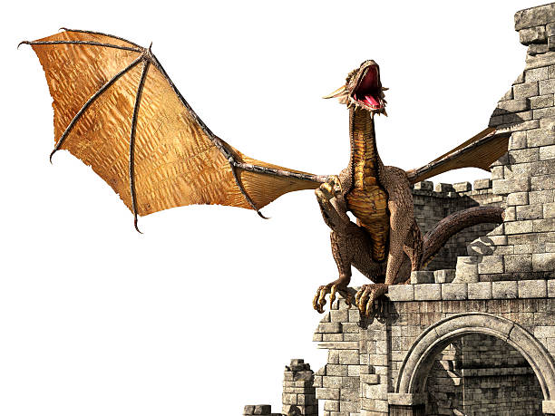 Evil dragon on castle stock photo