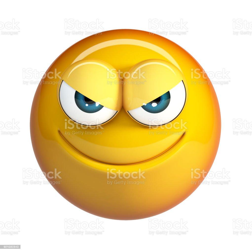Evil emoji, Badness emoticon. stock photo