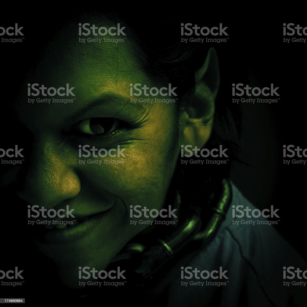 evil green troll stock photo