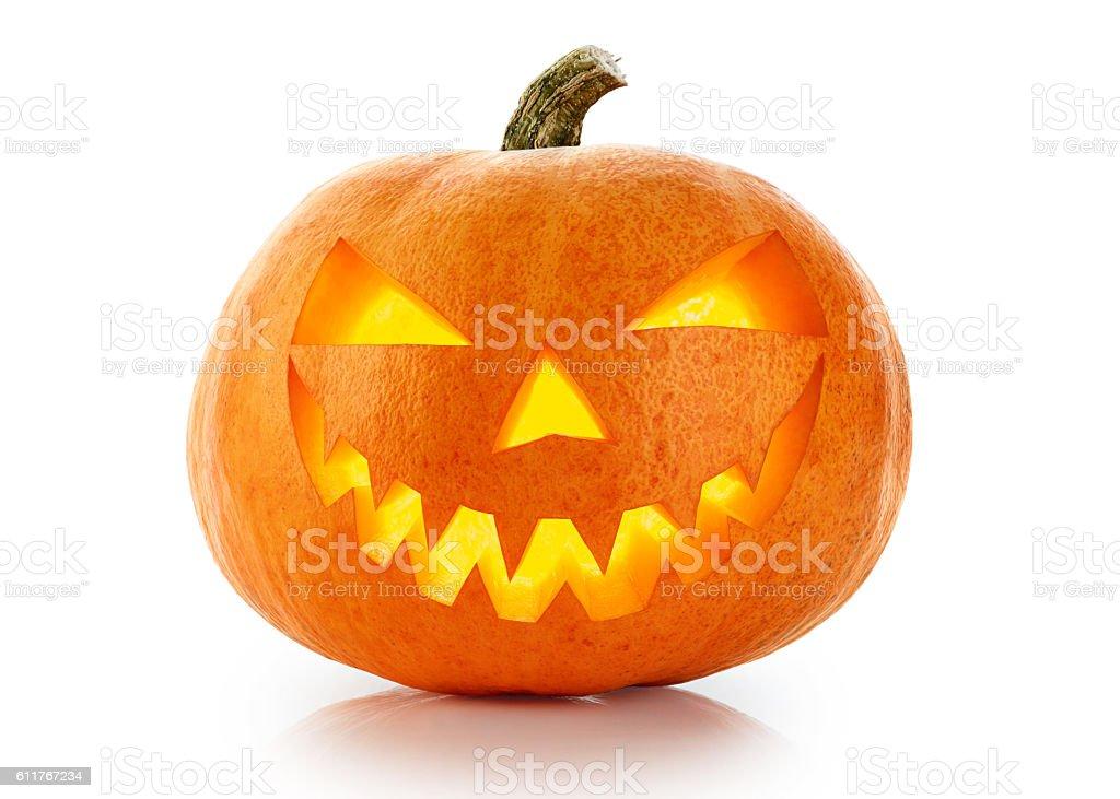 Evil Halloween pumpkin head isolated on white background stock photo