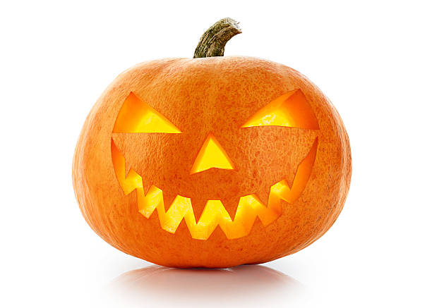 Evil Halloween pumpkin head isolated on white background stock photo