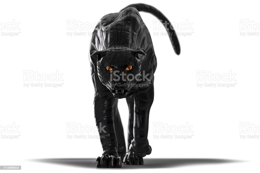 Evil looking cyborg black panther with red glowing eyes stock photo
