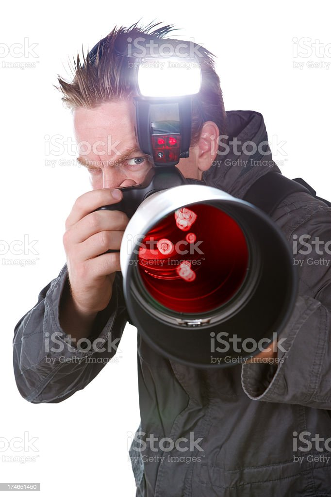 Evil Paparazzi royalty-free stock photo