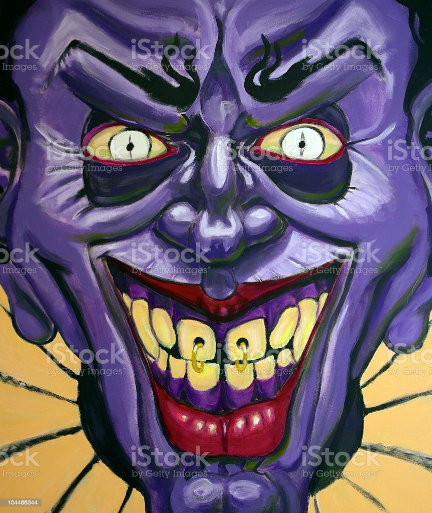 Evil Purple Clown royalty-free stock photo