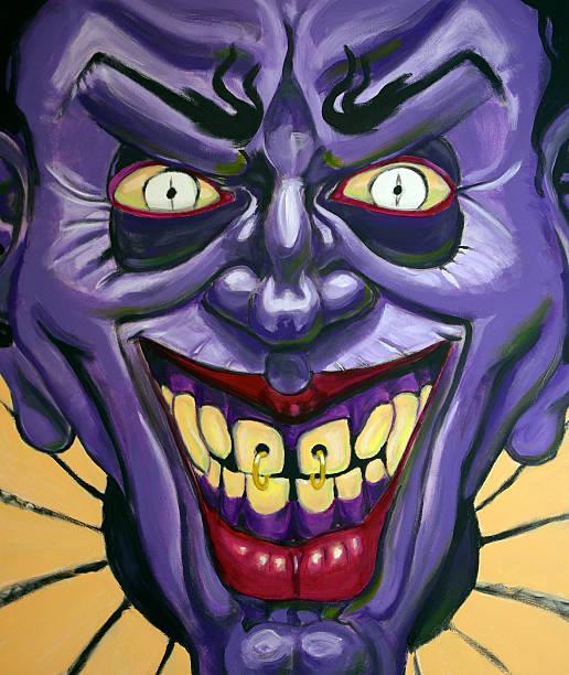 evil purple clown - mikefahl stock pictures, royalty-free photos & images
