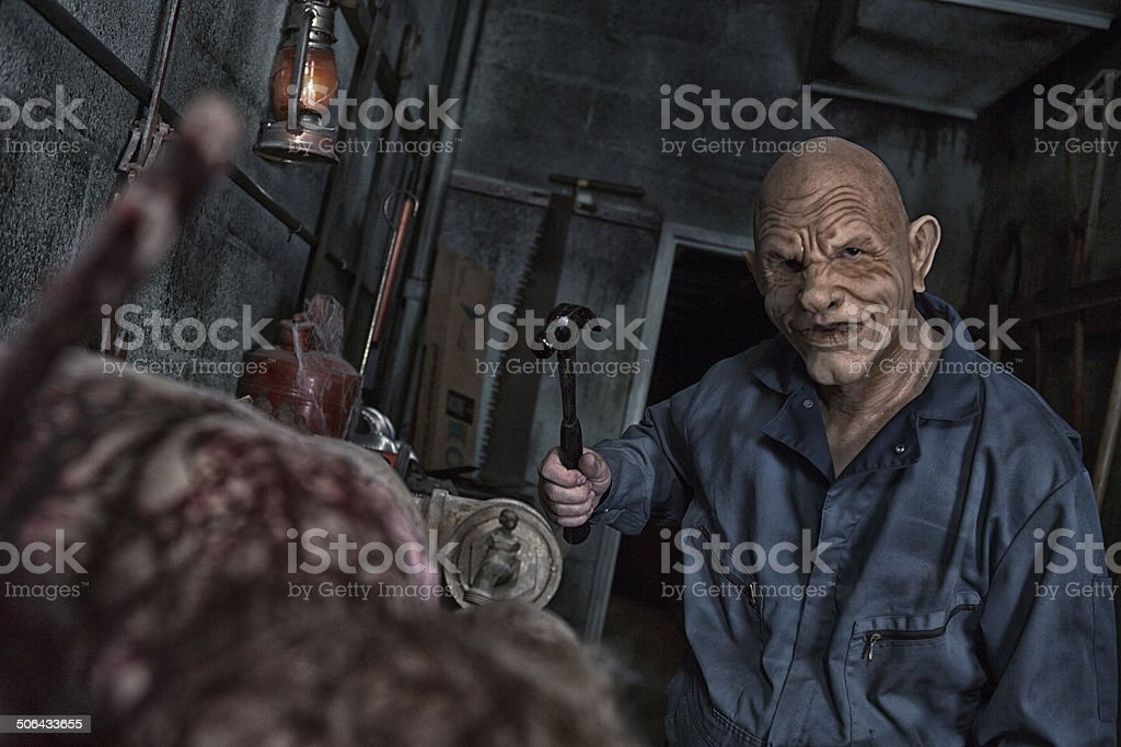 Evil School Janitor stock photo