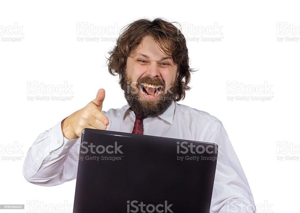 evil shaggy man stock photo