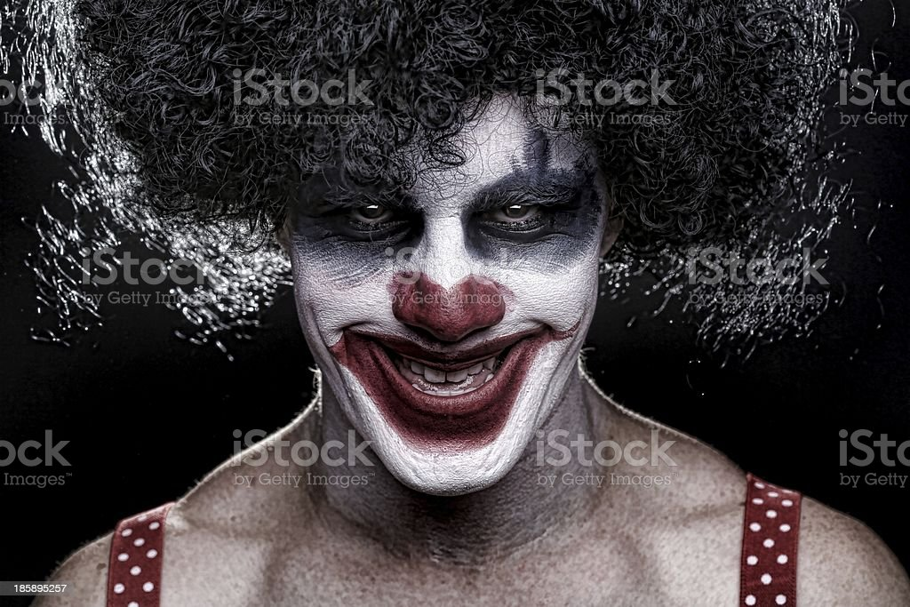 Evil Spooky Clown Smiling stock photo